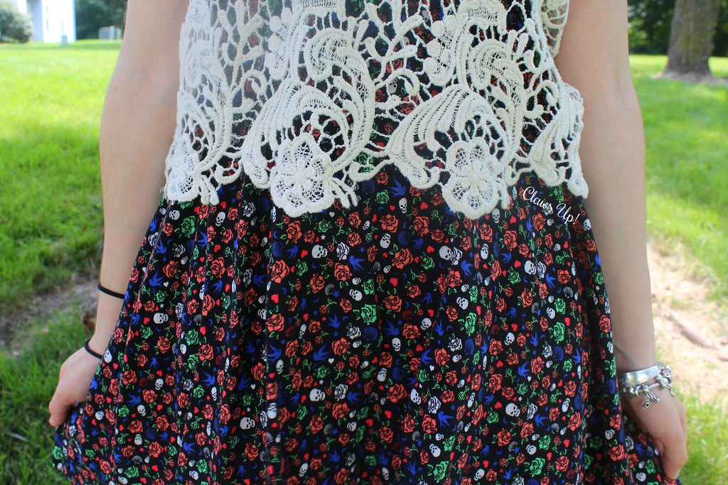 Patterned summer sun dress with lace top