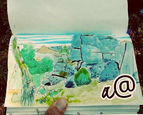 #dibujoandantes Dibujo de piedras graníticas  aborregodas Rotulador y Acuarela .