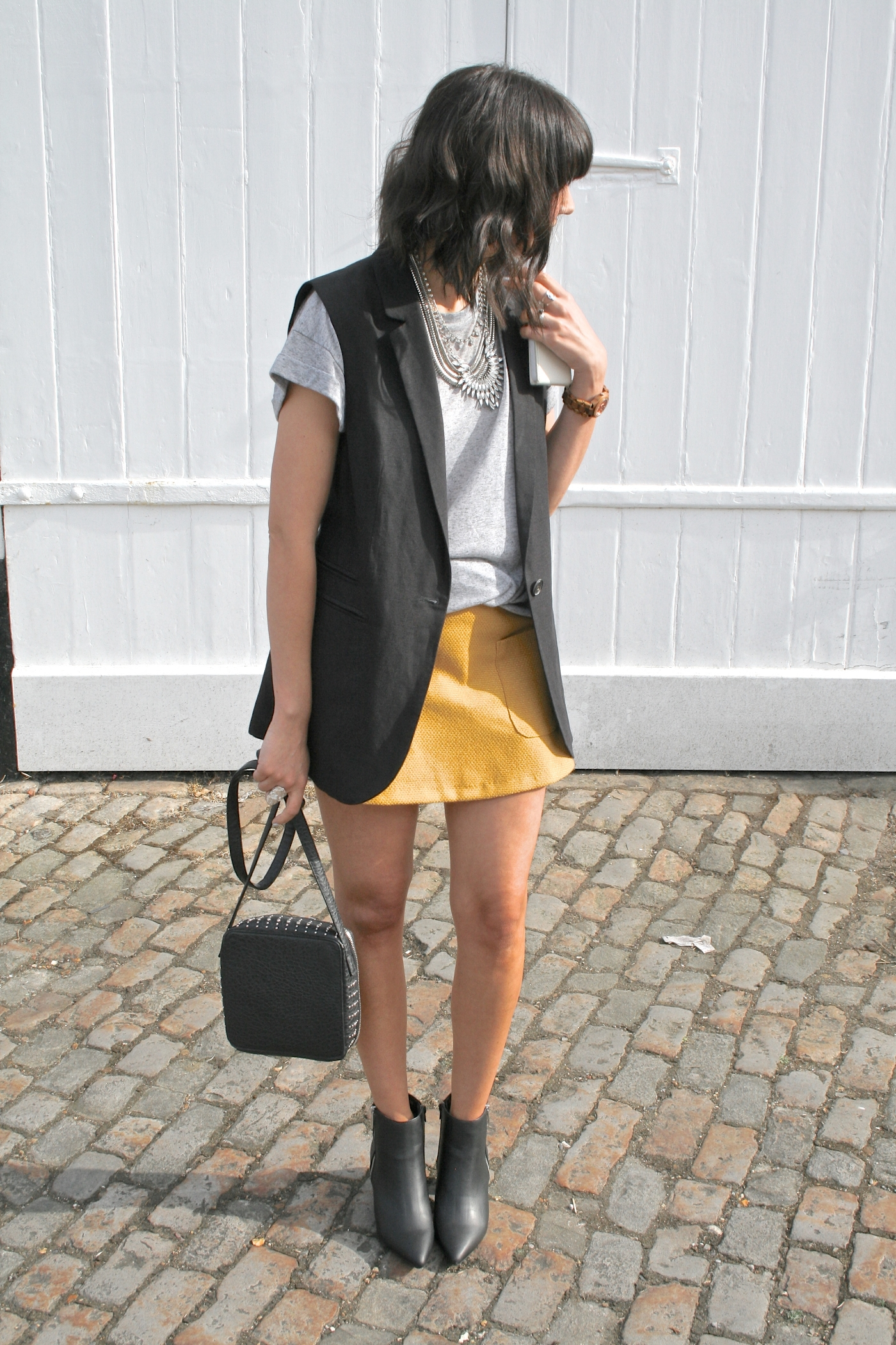 mustard a line skirt
