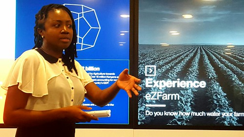 IBM Research Scientist, Kala Fleming using the Galaxy to demonstrate IBM's EZ Farm solution