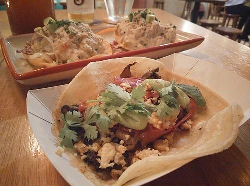 Tacos de Huitlacoche and Tostadas de Cangrejo