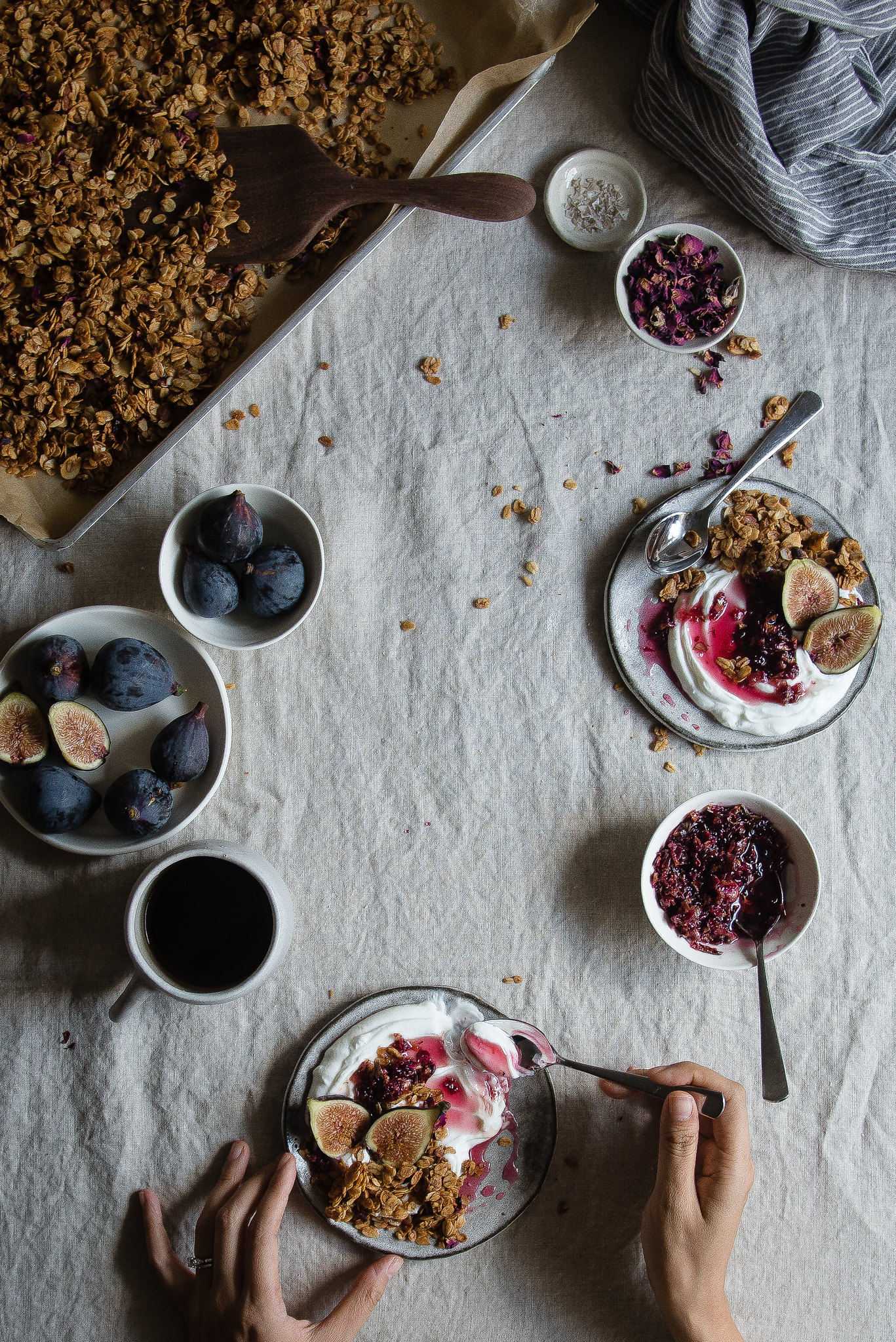fig, rose & almond granola parfaits | two red bowls