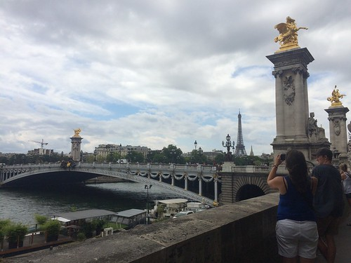 River Seine and first glimpse of Eiffel Tower