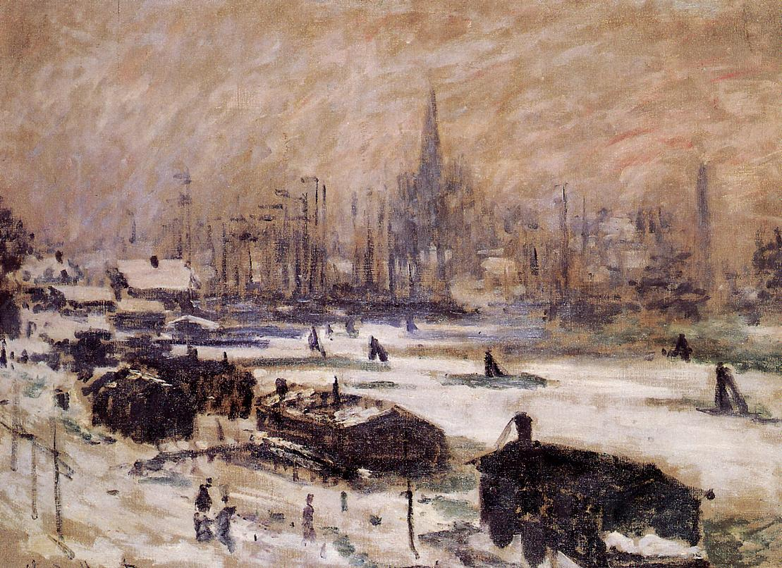 Amsterdam in the Snow by Claude Oscar Monet - 1874