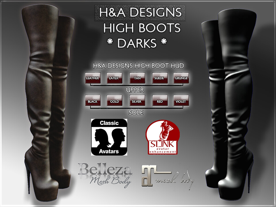 H&A Designs High Boots Darks - SecondLifeHub.com