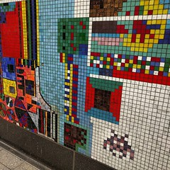 Saw the reinstalled TCR mosaics - complete w sly new addition from Invader. I quite like it alongside the originals. #London #underground #streetart #invader