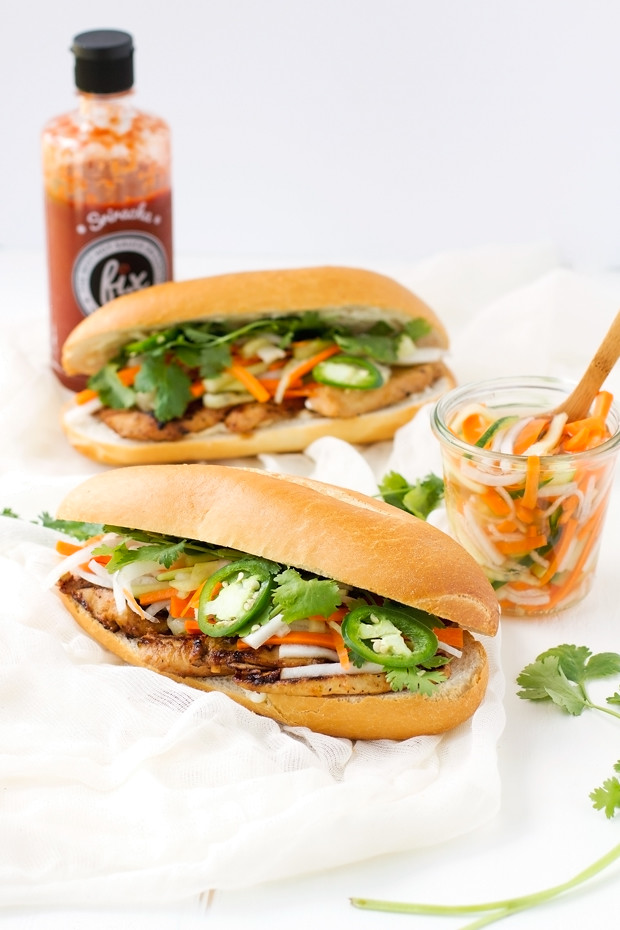 Sandwiches With Tempura Sweet Potato And Avocado (Vegan Banh Mi ...