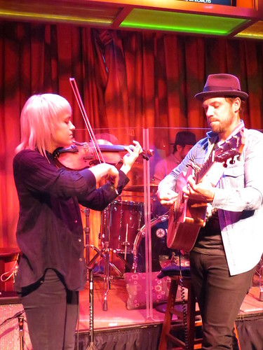 Anna Bulbrook, Daren Taylor and Mikel Jollett of The Airborne Toxic Event at Atlantic City's Golden Nugget, July 24, 2015. Photo by Julie.