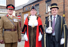 Colonel Wilkinson, Mayor Cllr. Neil Black, Mace Bearer (Temp) Cllr. Colin Billany