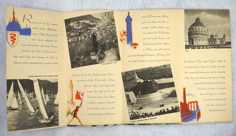RD12158 Italy For Your Leisure 1939 Travel Brochure New York Worlds Fair Hand Out DSC08607