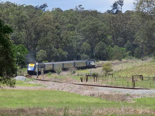 Sydney to Casino (NSW) passenger service #NT33 departs Mount George, NSW (1)