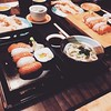 Luckily it's not raining during our lunch :blush: @helren @kalyanesl @priscillaxo #lunch #sushi #japanese #udon #tempura