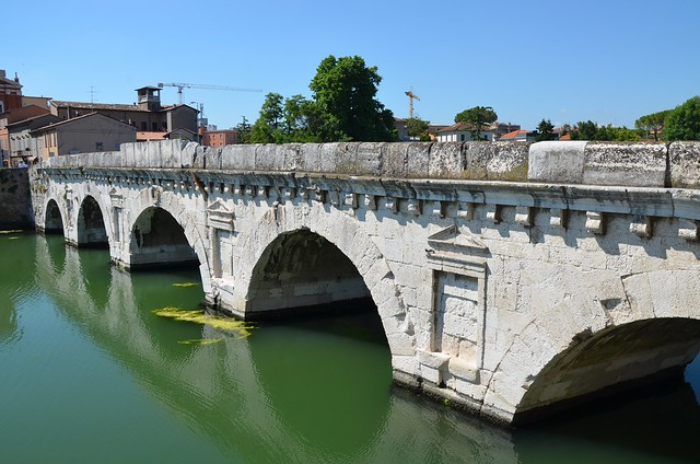 Tiberius Bridge (Ponte di Tiberio) over the Ariminus river in Ariminum on the Via Aemilia, constructed under Augustus and completed by Tiberius in 20 AD  as the inscription sculpted on the inner part of the two parapets states, Rimini