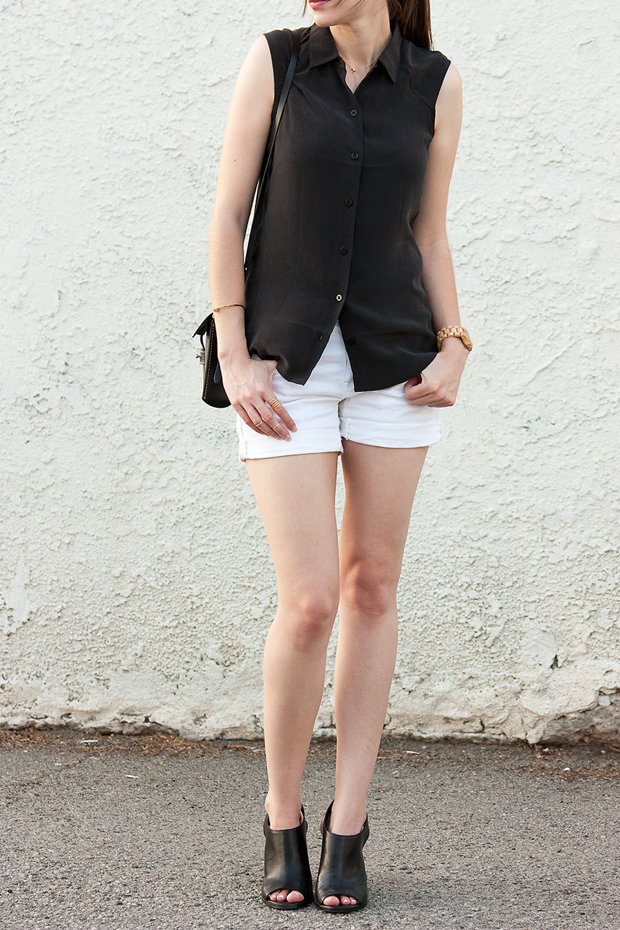 Everlane Silk Top, White Shorts, Black and White Outfit