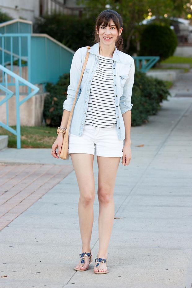 Fibi and Clo Sandals, Striped Shirt, Chambray Shirt, White Shorts