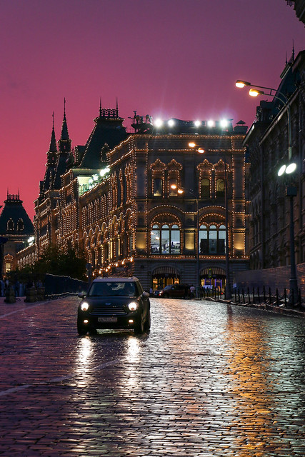Amazing sunset colors after raining view from Red square, Moscow, Russia モスクワ、赤の広場から見た雨上がりの夕焼け