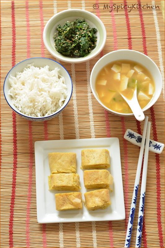 Japanese Cuisine, Japanese Food, Japanese Breakfast, Breakfast, Blogging Marathon, Buffet on Table, Japanese Eggs, Miso soup, Japanese Spinach Salad,
