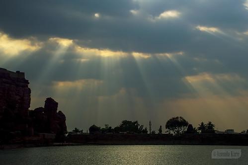 india ancient karnataka badami rays sunset vatapi bagalkot lake water