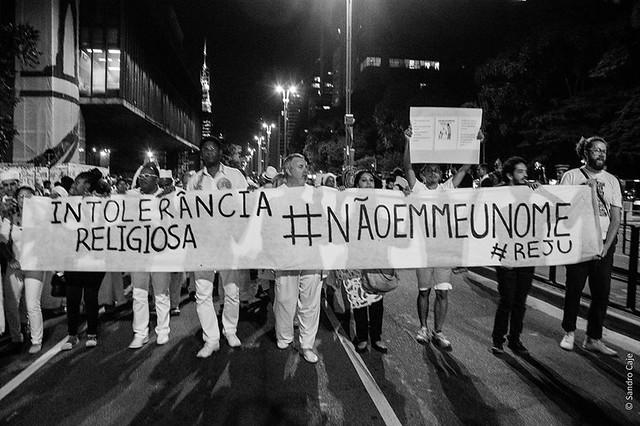 Ato do Dia Nacional de Combate à intolerância Religiosa de 2016, na avenida Paulista - Créditos: Roger Cipó