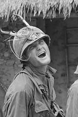 Chu Lai 1967 - Soldier Wearing a Horned Helmet