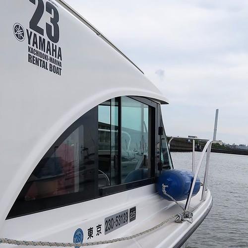 僕も操船しましたよ。二ヶ月ぶり。台風の後で、外の海は荒れてたけど、運河の中は静か。やっぱり楽しいねー。