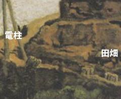 岸田劉生「代々木附近の赤土風景」 部分注釈付き