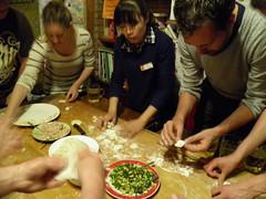 Dumpling making party at hostel in Xian
