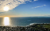 Robben Island, Sea Point and Green Point from Signal Hill - Panorama at sunset