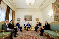 U.S. Secretary of State John Kerry, joined by U.S. Ambassador to Egypt Stephen Beecroft and National Security Council Director for the Middle East, North Africa, and Gulf Region Robert Malley, sit with Egyptian President Abdel Fattah al-Sisi and their counterparts at the Ittihadiya Presidential Palace in Cairo, Egypt, at outset of a bilateral meeting following a series of security and economic discussions during a Strategic Dialogue between the United States and Egypt on August 2, 2015. [State Department photo/ Public Domain]