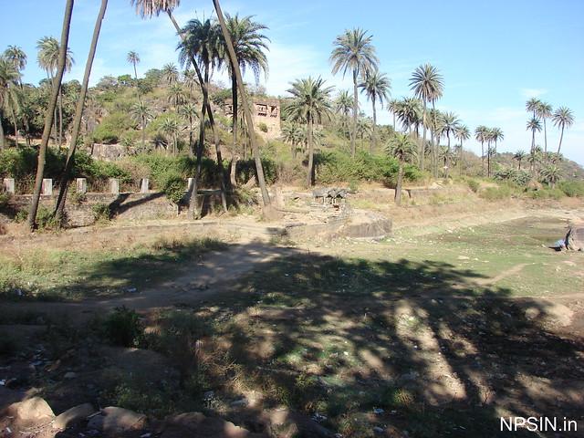 Three stone buffaloes standing around Mandakini lake located nearby