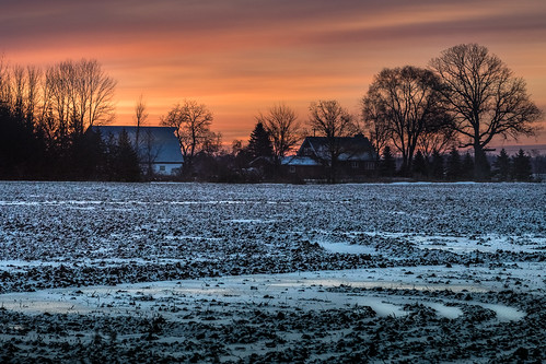 canoneos5dmarkiv amanecer sunrise farm field campo january enero snow plowed winter invierno