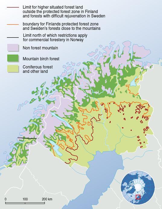 Forest Boundaries In Northern Scandinavia GRIDArendal - Sweden forest map