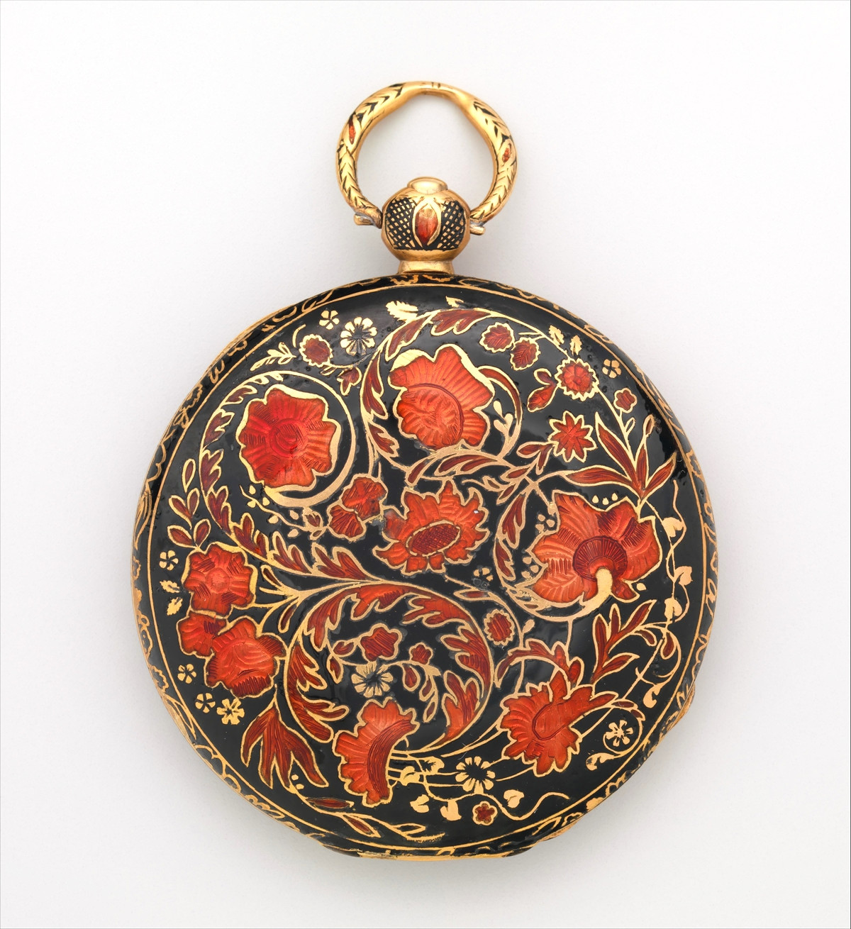 1830. Watch. Swiss, Geneva. Case of gold and enamel, with floral design; jeweled movement, with cylinder escapement. metmuseum