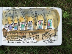 Ink and pencil view from choir loft at Sacred Heart Catholic Church, Murdock #minnesota Established in 1894 @urbansketchers @uskchicago #catholicchurch @lamyusapens @lamy_official @moleskinearts @mprnews @exploreminnesota
