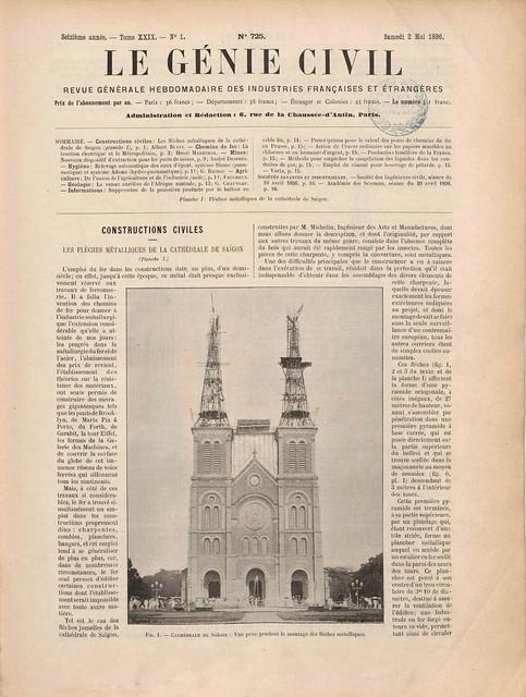 LE GÉNIE CIVIL (2-5-1896) - Les flèches métalliques de la Cathédrale de Saigon