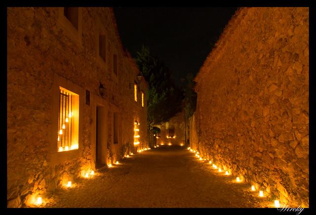 Noche velas Pedraza fotografías - Calle con velas