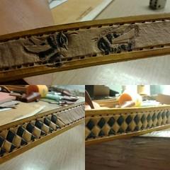 Work in progress. #instadogs #leatherdogcollars #smallleathercollars #bumblebees #checkerboard #yellow #black
