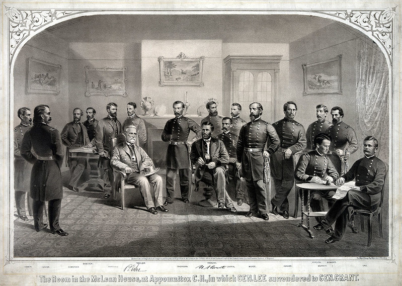 A print of Ulysses S. Grant accepting Robert E. Lee's surrender at the McLean House