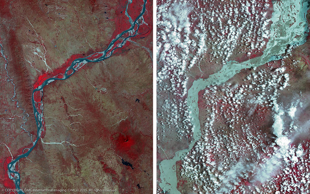 Before and after the flood of the Irrawaddy River, Myanmar