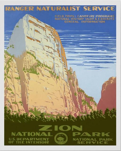 WPA Poster, Ranger Naturalist Service, Zion  National Park, Utah