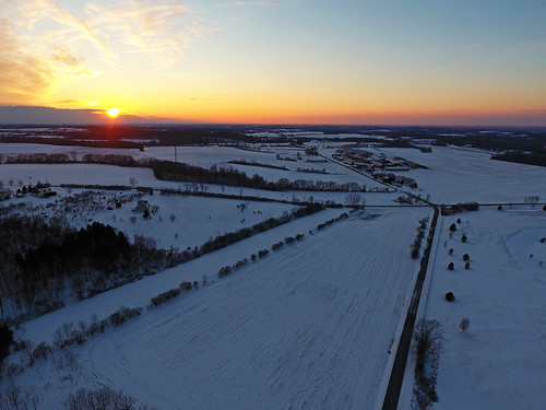 dronephotography drone drones aerial life nature landscape sunset beautiful peaceful fun friday tgif dji djiphantom4 road rural farm farming winter cold 2017