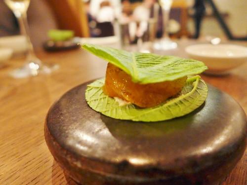 Benu restaurant fluke sesame leaf