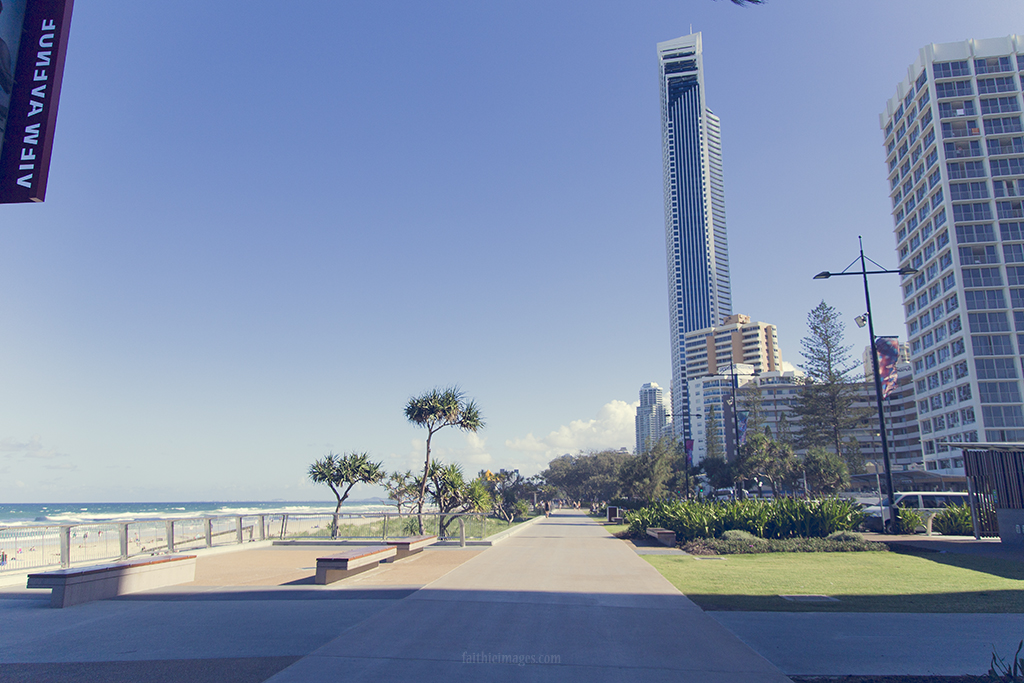 wide angle view of Surfers Paradise beach and city
