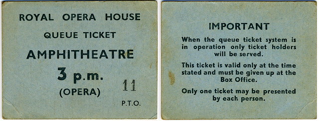 Royal Opera House Queue Ticket c.1950-1960s © ROH Collections