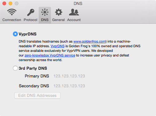 VyprVPN - Mac - Settings - DNS