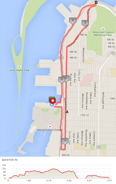 "Today""s awesome walk, 5.47 miles in 1:45, 11,752 steps, 216ft gain"