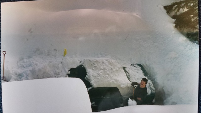 Dale Cooper digging out the car at Cedar Shores on Gorge Rd West. Photo Michelle Cooper