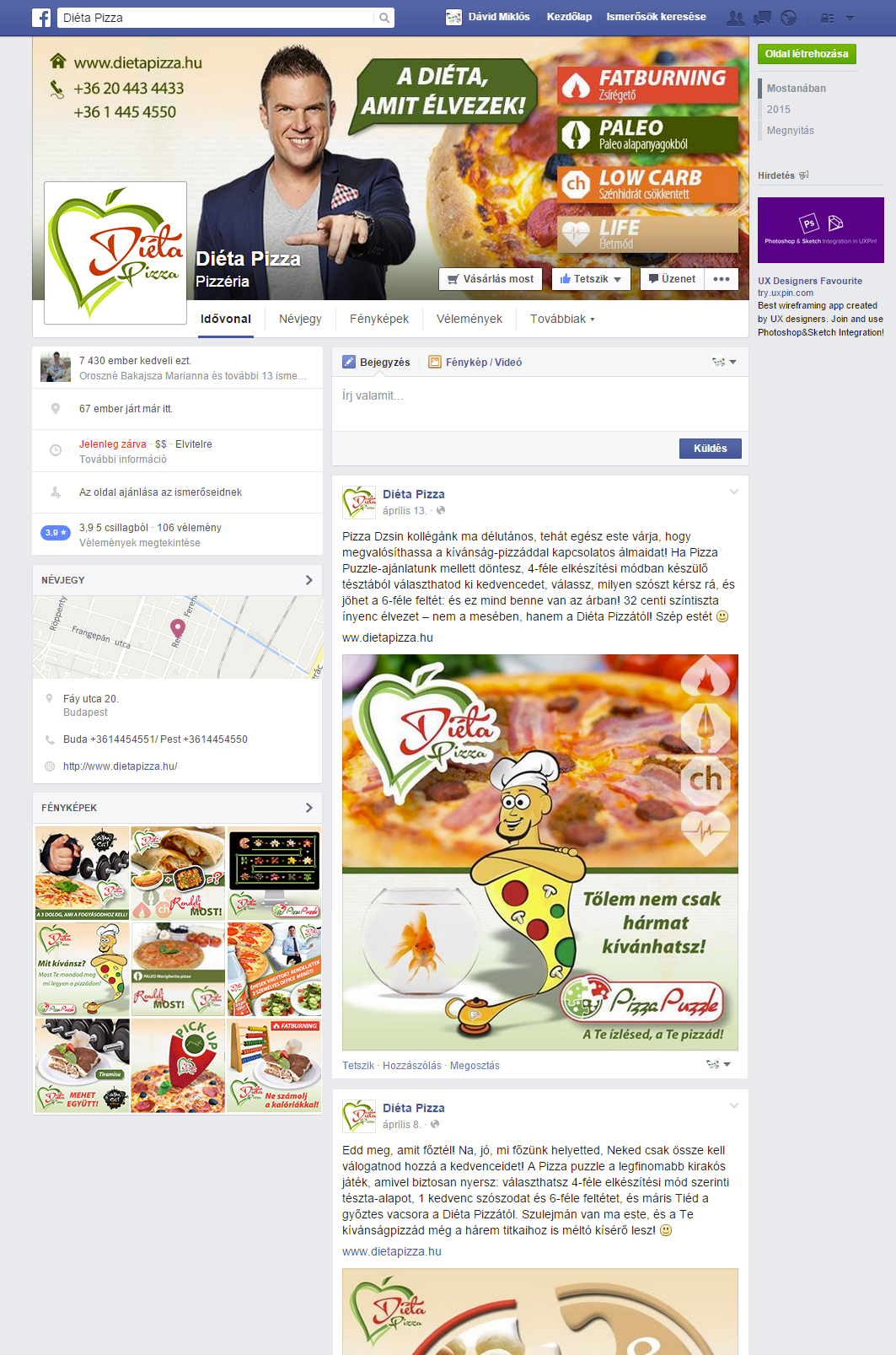 Diéta Pizza Facebook