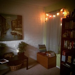 My little reading nook is finally coming together! :grin::princess::books::book:#homesweethome #lights #books #bookcase #readingnook #cozy #relaxation