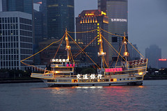 sailing ship, vehicle, cityscape, skyline, watercraft, boat,